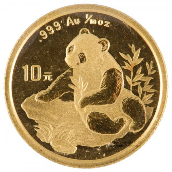Ankauf: China Panda 1998, Goldmünze 1/10 Unze (oz)