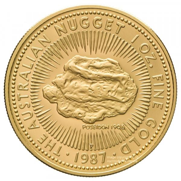 Ankauf: Australian Nugget (Kangaroo) 1987, Goldmünze 1 Unze (oz) PP