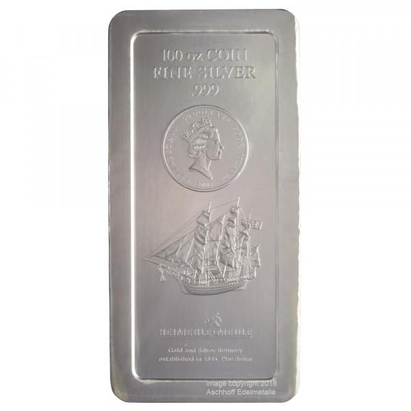 Ankauf: Cook Islands Münzbarren, Silber 100 Unzen (oz), diverse Jahrgänge