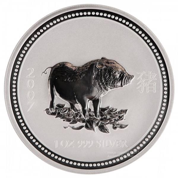 Ankauf: Lunar I 2007 Schwein, Silbermünze 1 Unze (oz)