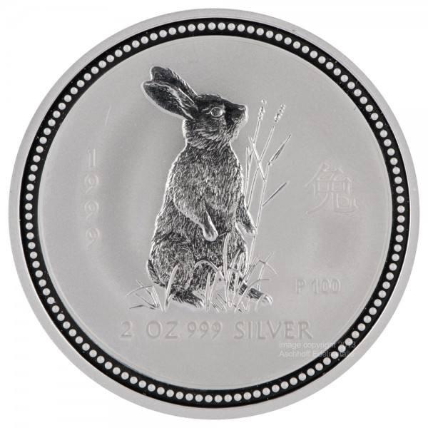 Lunar I 1999 Hase, Silbermünze 2 Unzen (oz)
