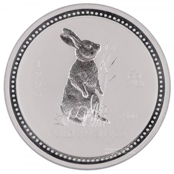 Ankauf: Lunar I 1999 Hase, Silbermünze 1 kg