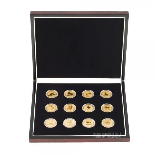 Edle Münzbox für 12 x 1oz Gold Lunar I oder 12 x 1oz Gold Lunar III-Serie