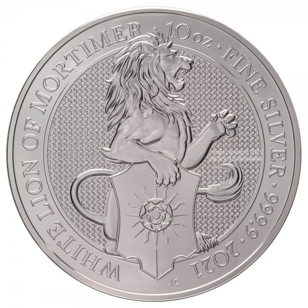 The Queens Beasts White Lion of Mortimer 2021, Silbermünze 10 Unzen (oz)