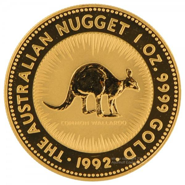 Ankauf: Australian Nugget (Kangaroo) 1992, Goldmünze 1 Unze (oz)