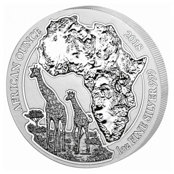 Ruanda African Ounce 2018 Giraffe, Silbermünze 1 Unze (oz)