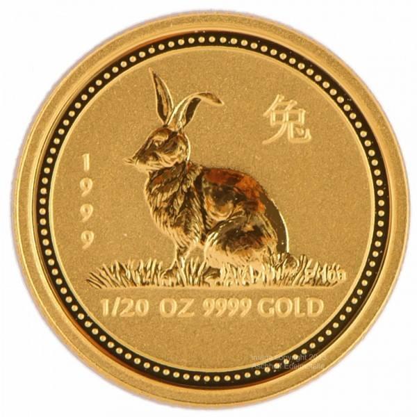 Ankauf: Lunar I 1999 Hase, Goldmünze 1/20 Unze (oz)