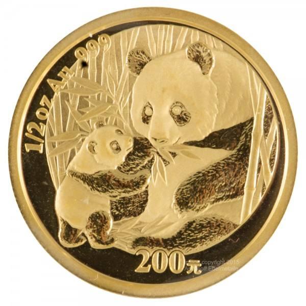 China Panda 2005, Goldmünze 1/2 Unze (oz) Original-Folie