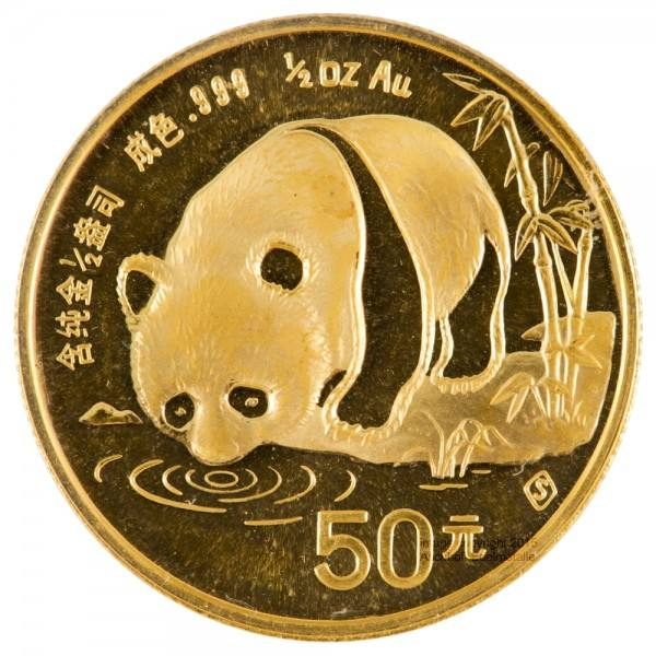 Ankauf: China Panda 1987, Goldmünze 1/2 Unze (oz)