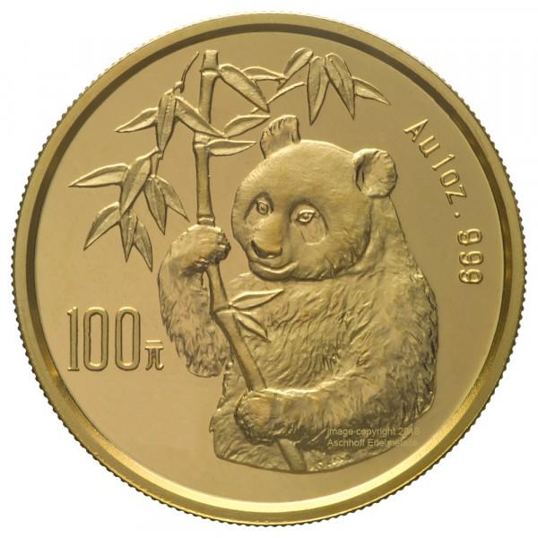 China Panda 1995, Goldmünze 1 Unze (oz) Original-Folie mit Kontrollzettel