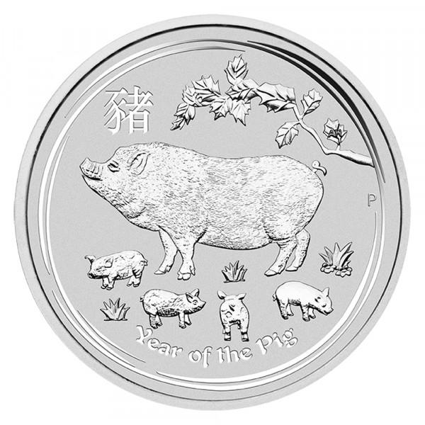 Ankauf: Lunar II 2019 Schwein, Silbermünze 10 Unzen (oz)