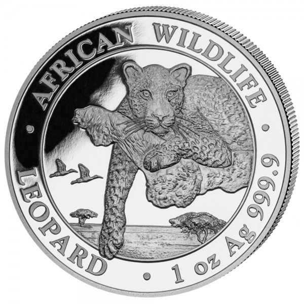 Somalia African Wildlife Leopard 2020, Silbermünze 1 Unze (oz)