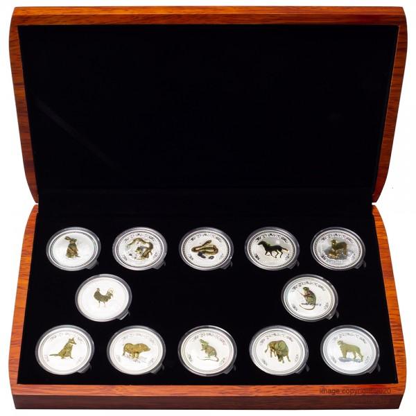 Lunar I Silbermünzen 12 x 1 Unze (oz) Gilded-Set in hocherwertiger Box