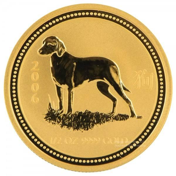 Ankauf: Lunar I 2006 Hund, Goldmünze 1/2 Unze (oz)