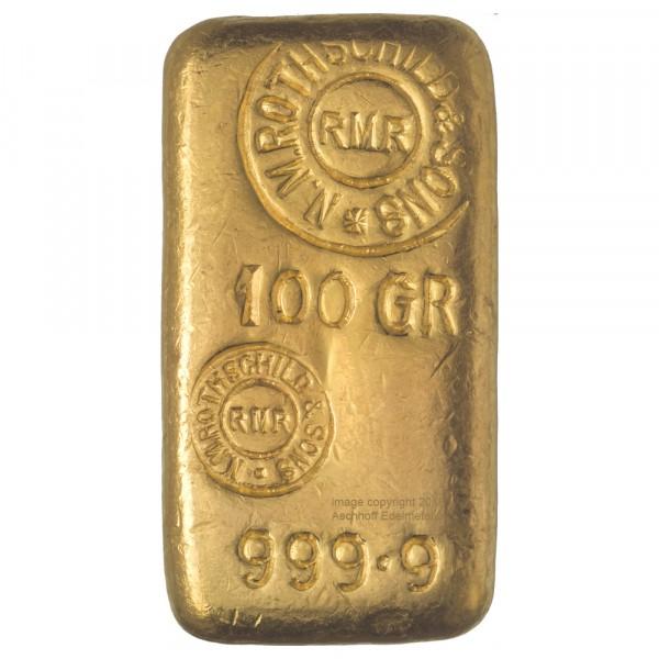 Rothschild Goldbarren 100g gegossen